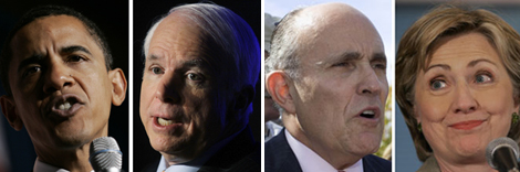 Ethnicity, gender or age probably would have ruled out these White House hopefuls in the past. (Left to right: Sen. Barack Obama, Sen. John McCain, former NYC Mayor Rudy Giuliani and Sen. Hillary Clinton.)