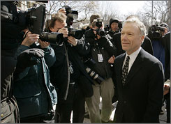 """Former White House aide I. Lewis """"Scooter"""" Libby prepares to meet reporters outside court in Washington, Tuesday, after the jury reached a verdict in his perjury trial. Some wonder if President Bush is willing to risk  on behalf of Libby  the kind of political grief that has historically gotten presidents into political trouble."""