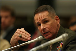 Gen. Peter Pace, chairman of the Joint Chiefs of Staff, said allowing gays to serve openly in the military would condone immorality.