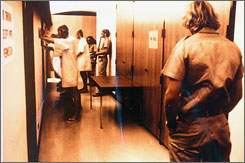 An image taken psychologist Philip Zimbardo's 1971 Stanford prison experiment in which 24 male college students acted out the roles of guards or prisoners in a two-week study.