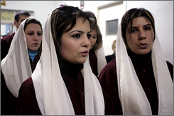 Iraqi Chaldean Catholic women attend Sunday mass at a Chaldean church in Amman, Jordan, in this Feb. 2007 file photo.