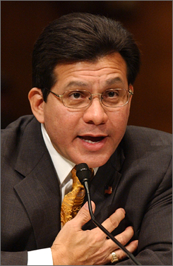 Attorney General Alberto Gonzales testifies on Capitol Hill in Washington before the Senate Judiciary Committee. Gonzales facing another tough week over firing of prosecutors.