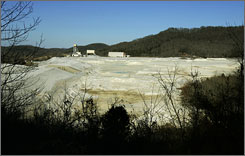 In a valley next to Al Gore Jr.'s farm near Carthage, Tenn., ground limestone left over from zinc mining spreads out like a white blanket. Some of the lime is sold to treat soil that is too acidic.