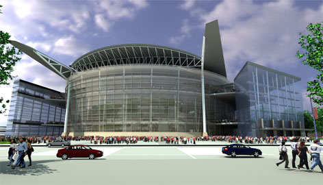 This computer drawing shows how a proposed new Seattle SuperSonics' arena may look if it is constructed as planned on a site currently owned by the Boeing Co. in Renton, Wash. Owners are hoping to get a $300 million tax subsidy to build the team's new home.