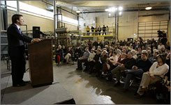 Democratic presidential hopeful John Edwards speaks at the Biomass Energy Conversion Center Tuesday in Nevada, Iowa.