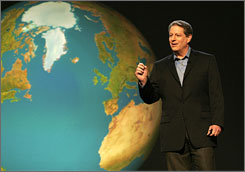 Former vice president Al Gore talks about global warming in An Inconvenient Truth. Gore will address two House committees Wednesday.