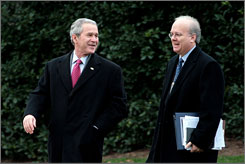 Bush had proposed that lawmakers interview GOP strategist Karl Rove, right, but not under oath. A House committee today rejected that offer by voting to authorize subpoenas for Rove and other top officials.