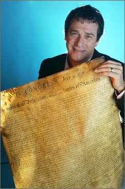 Michael Sparks holds a rare 184-year-old copy of the Declaration of Independence in Nashville. He found the document while scouring a thrift shop.