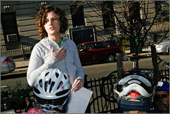 """Pedestrians and cyclists are almost an afterthought. That needs to change so pedestrians and cyclists are the priority,"" says Rachael Myers, whose boyfriend was struck and killed in 2004."
