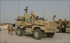 Marines from an ordnance-disposal unit demonstrate a Cougar H vehicle in Anbar province last month.