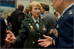 "Maj. Gen Gale Pollock, the acting Army surgeon general, is seen on Capitol Hill Tuesday prior to testifying before the House Armed Service Committee. ""When the original plans were made, we did not take into consideration we could be in a long war,"" Pollock said."