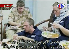 An Iranian Arabic-language TV station broadcast video of captive British sailors eating. Faye Turney, 26, the only female hostage, will be released today or tomorrow, Iran says.