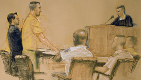 In this courtroom sketch, Guantanamo detainee David Hicks, left, stands with his defense council in the U.S. military courtroom in Guantanamo Bay, Cuba. Hicks, an Australian detainee that has been held for five years in the prison at Guantanamo, was found guilty Friday, after pleading guilty of providing material support for terrorism.