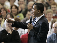 Democratic presidential hopeful, Sen. Barack Obama, D-Ill. speaks at a town hall forum in Council Bluffs, Neb., Saturday.