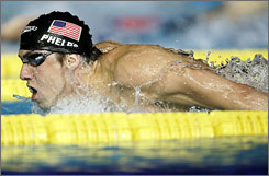 Michael Phelps closed out his eight-day run in style, winning the 400-meter individual medley in 4:06.22  easily improving his old standard of 4:08.26 set at the 2004 Athens Olympics.