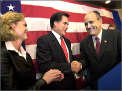 Though former New York City mayor Rudy Giuliani, right, is leading in the polls, ex-governor of Massachusetts Mitt Romney is leading in fundraising numbers by $8 million.