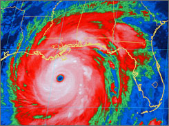 An infrared satellite image shows Hurricane Katrina on Aug. 28, 2005. A top forecaster said today that a late El Nino calmed last year's hurricane season. This year, however, he predicts five hurricanes with winds 111 mph or greater.