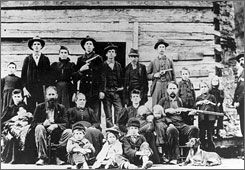 The Hatfield clan poses in April 1897 at a logging camp in southern West Virginia. The most infamous feud in American folklore between the Hatfields and McCoys may be partly explained by a rare, disease inherited by the McCoy clan.