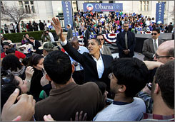 Democratic presidential candidate Barack Obama greets supporters during a rally March 17 in Oakland.