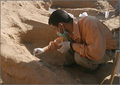 A forensic expert examines a skeleton found in a shallow grave in Najaf, Iraq. Officials there said five skeletons found in shallow graves by workers were alleged victims of former Iraqi leader Saddam Hussein.