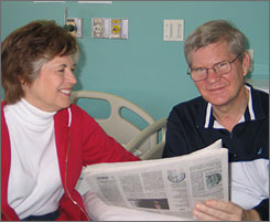 U.S. Senator Tim Johnson, D-S.D., with his wife Barbara at a rehabilitation center last month.