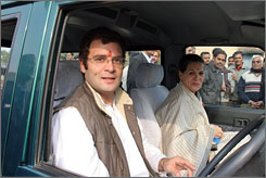 Rahul Gandhi and his mother, Sonia, head of India's Congress Party, tour Rae Bareli in February. Analysts say Rahul is being groomed for a big role in the party.