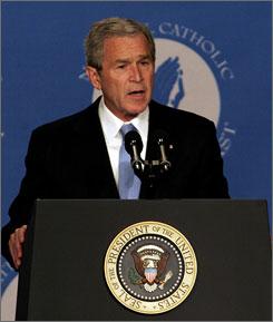 President Bush makes remarks at the National Catholic Prayer Breakfast, Friday, in Washington, D.C.