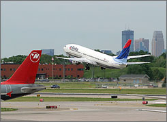 A jet takes off from Minneapolis/St. Paul International Airport, where dangerous configurations have been found.
