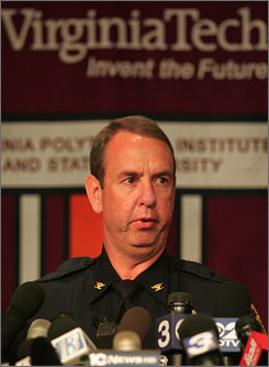 Wendell Flinchum, Virginia Tech chief of police, briefs the media about the deadly shootings on campus in Blacksburg, Va.