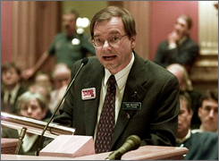 Tom Mauser, seen in this 2000 file photo, became a national advocate of gun control after his son was killed in the 1999 shootings at Columbine High School.