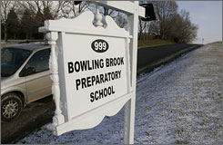 A security vehicle sits at the end of the driveway for the Bowling Brook Preparatory School in Keymar, Md. This residential juvenile treatment facility is where Isaiah Simmons, 17, of Baltimore, died in January, after a struggle with staff members.