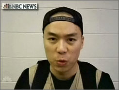 Image from video aired by NBC News on Thursday shows Virginia Tech gunman Cho Seung Hui. The video was part of a package mailed to the network on Monday between Cho's first and second shootings.