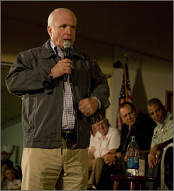 McCain answers questions at the Veterans of Foreign Wars post in Summerville, S.C., on Wednesday.