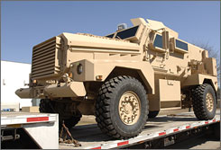 The MRAP: Force Protection delivers an armored vehicle to the U.S. government. The Pentagon wants more of these in Iraq.