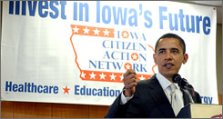 Democratic presidential candidate Barack Obama speaks at the Iowa Citizens Action Network's delegate assembly conference Saturday in Johnston, Iowa.