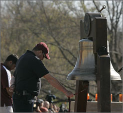 A bell is rung for each victim of the Virginia Tech shootings that killed 32 people and their murderer. Classes resumed Monday, April 23.