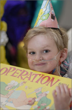 Joseph Greenwood celebrated his sixth birthday about two weeks after he was implanted with the Berlin Heart. Joseph received the boardgame Operation from a hospital staffer.