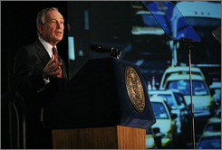 Mayor Michael Bloomberg speaks on Earth Day Sunday at the American Museum of Natural History in New York. Bloomberg outlined a package of proposals focused on the city's transportation, energy, water and housing networks.