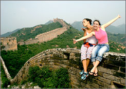 Meredith Reese and Melissa Sconyers on the Great Wall of China during a break in Sconyers' Beijing internship.
