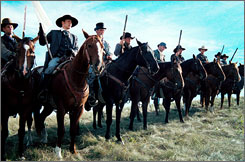 "A scene from the upcoming motion picture ""September Dawn,""  which portrays Mormons as obedient fundamentalists who orchestrated the 1857 Mountain Meadows Massacre."