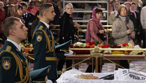 Up to 2,000 mourners gathered to pay their last respects to former Russian president Boris Yeltsin during a farewell ceremony in Christ the Savior Cathedral in Moscow, Tuesday. Yeltsin died Monday from heart failure at age 76.