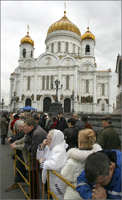 People line up outside Christ the Savior Cathedral where a farewell ceremony for Yeltsin will be held in downtown Moscow on Tuesday.