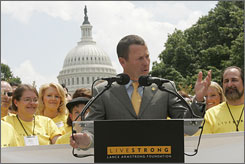 Lance Armstrong, retired seven-time Tour de France champion, spent the day lobbying Congress to increase spending to find a cure for all types of cancer last year.