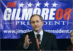 Former Virginia Gov. Jim Gilmore formally announces his candidacy for the Republican presidential nomination in Des Moines.