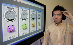 The headset being worn by NeuroSky software engineer Horance Ko captures brain wave signals measuring anxiety, attention, drowsiness, and meditation levels. Advocates say toys with even the most basic brain wave-reading technology could boost mental focus and help kids with attention deficit hyperactivity disorder, autism and mood disorders.