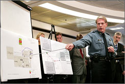 Police Chief Jim Corwin of Kansas City, Mo., displays several charts and timelines, outlining the chain of events that apparently led to a mall shooting that left three dead, including the suspected gunmen, David W. Logsdon.
