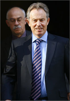 Blair leaves 10 Downing Street earlier this morning. Speculation over when he would leave has become a national pastime.