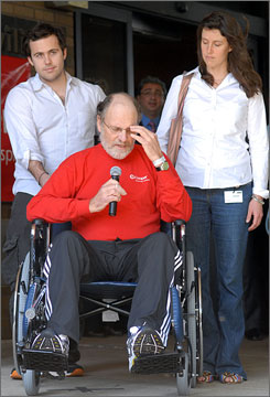 New Jersey Gov. Jon Corzine, accompanied by son Jeff and daughter Jennifer, was discharged from Cooper University Hospital on Monday.