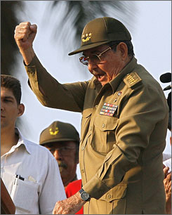 Acting president Raul Castro celebrates events on Tuesday.
