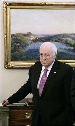 Vice President Dick Cheney listens as Yemen's President Ali Abdullah Saleh and President Bush make statements to reporters in the Oval Office at the White House in Washington on Wednesday.